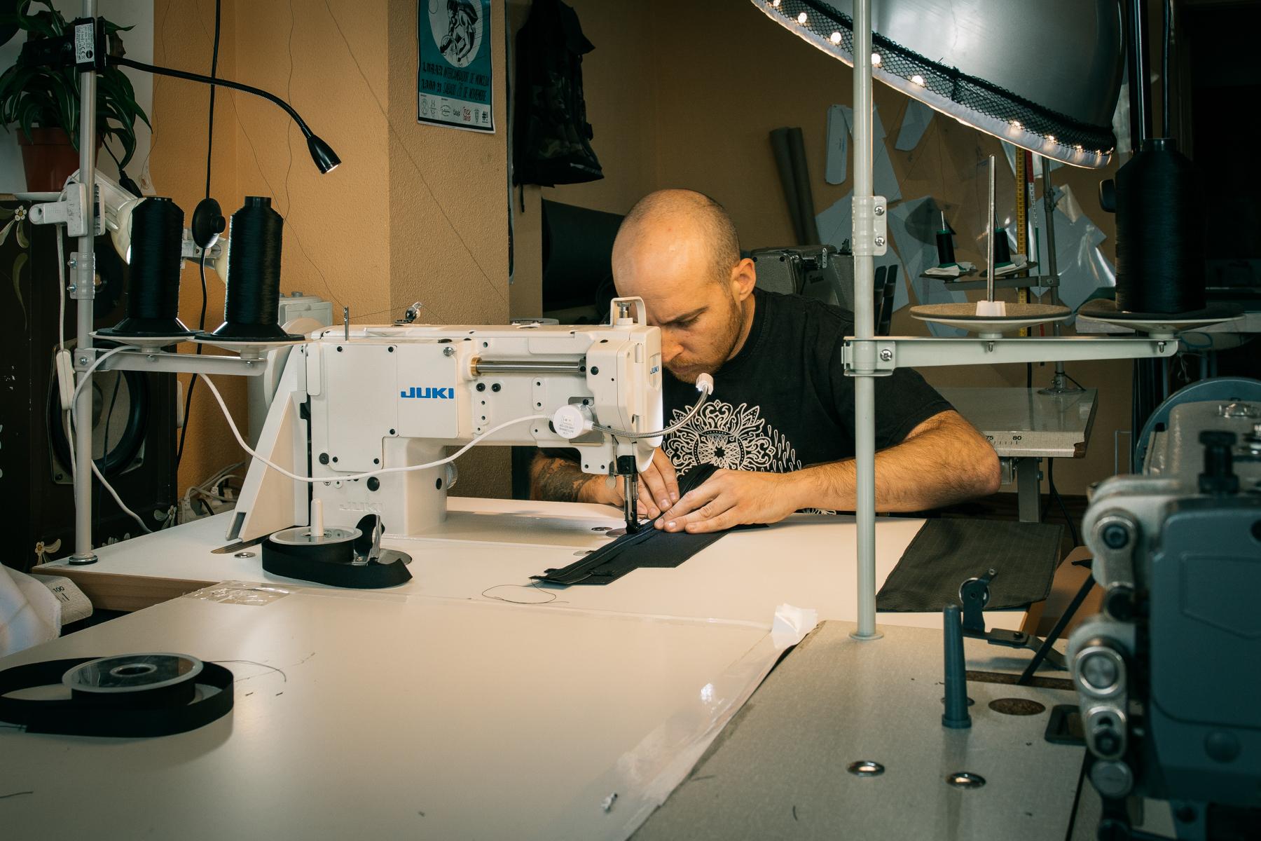 Daniel bazaco making Cordel bikepacking bags