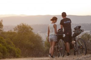 Cycling lovers watching the sunset over Nice : Camille Goffard and Venom's Philippe Joie